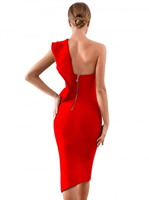 Lively Red Bandage Dress Ruffles One Shoulder Womens Charming