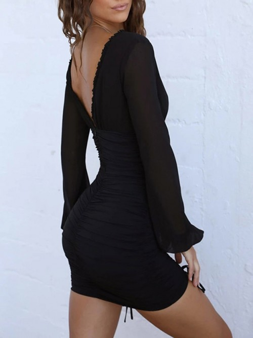 Classic Black Deep-V Long Sleeve Bodycon Dress All Over Smooth