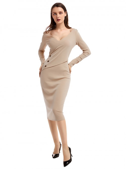 Brilliant Apricot V Collar Button Sweater Dress Breath
