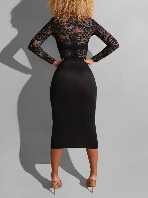 Conservative Black Bodycon Dress Lace Sheer Mesh Ultimate Comfort