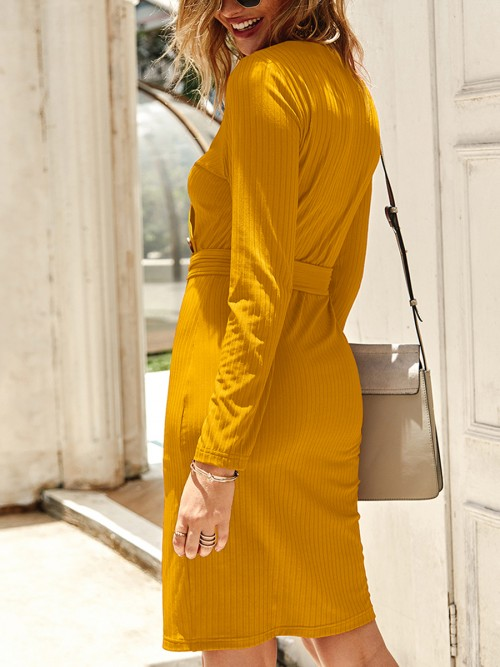 Comfort Yellow Long Sleeve Button Knot Bodycon Dress Women Outfits