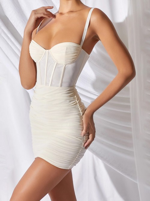 Impeccable Beige Plunge Neck Sling Bodycon Dress Leisure Fashion