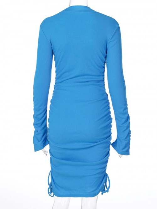 Blue Mini Dress Solid Color Half Neck Trend For Women