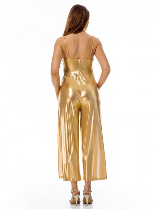 Gold High Thigh Slit Jumpsuit Sleeveless Zip At Back