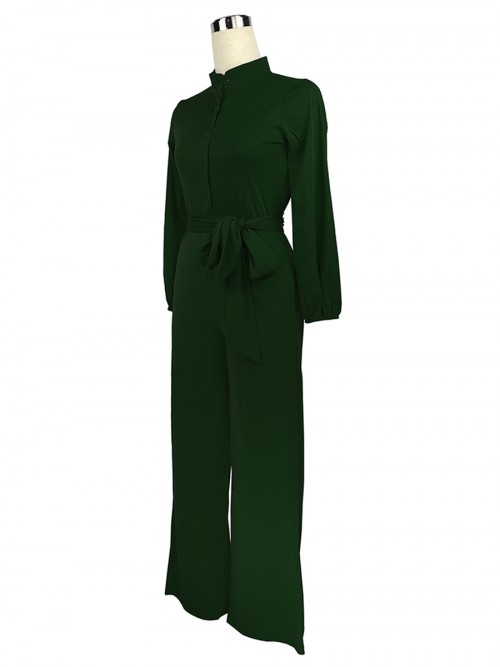 Bodycon Fit Dark Green Side Pockets Ankle Lenght Jumpsuit Ultra Cheap