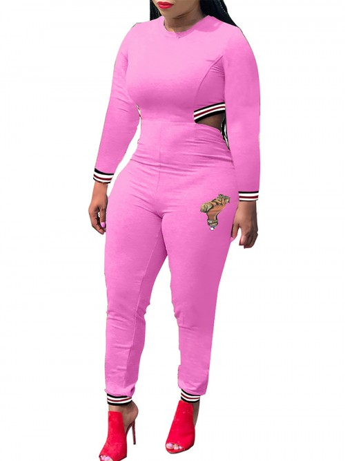 Beautifully Designed Pink Crew Neck Patchwork Jumpsuit Zipper