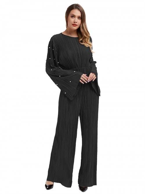 Loose Fitting Black Round Collar Jumpsuit Flare Sleeves Fashion Design