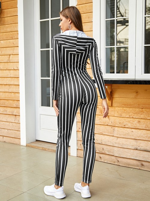 Sweety Black Stripe Printed Jumpsuit Hooded Neck For Work