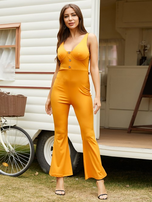 Summary Yellow Flared Leg Jumpsuit Backless Sling Ladies Grace