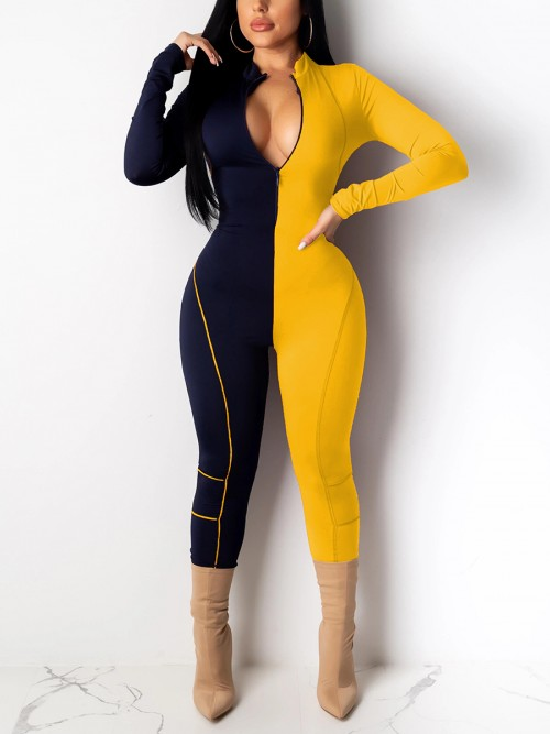 Flirting Yellow Zipper Front Full Length Jumpsuit Relax Fit