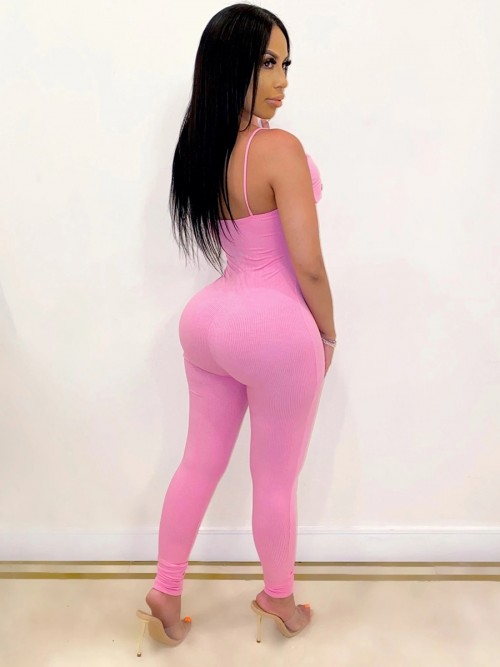 Pink Backless Jumpsuit With Mask Front Knot Feminine Grace