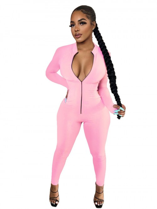 Formal Pink Mock Neck Romper Solid Color Zipper Forward Women