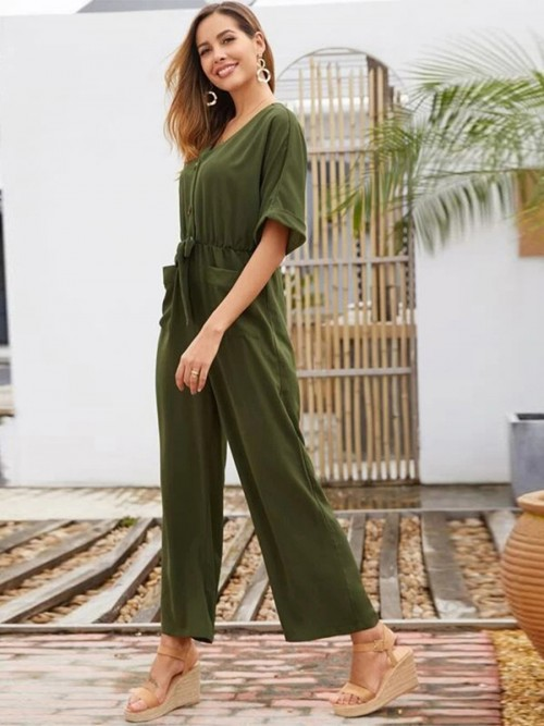 Striking Army Green Tie Jumpsuit V Collar Solid Color
