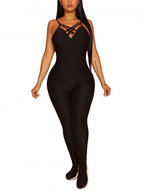 Fantastic Black Criss-Cross Backless Sports Jumpsuit Natural Women