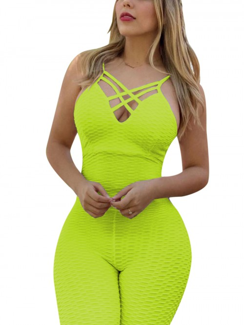 Cheeky Green Sports Jumpsuit Jacquard Cross Straps Comfortable