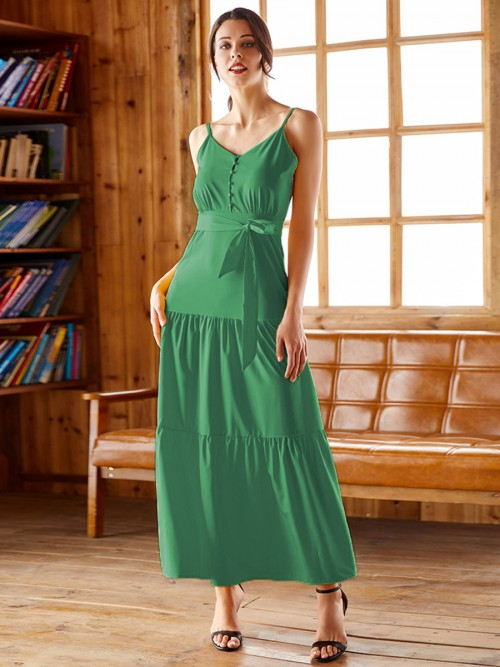 Intrigued Green Ruched Maxi Dress Tie Large Size Cool