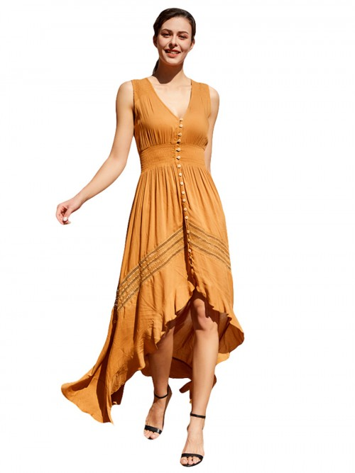 Glitzy Yellow Dovetail Hem Button Maxi Dress V-Neck Relax Fit