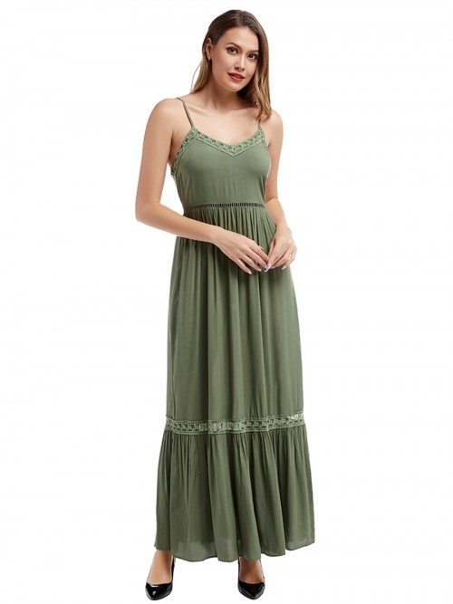 Shimmer Army Green Lace Trim Maxi Dress Slender Strap