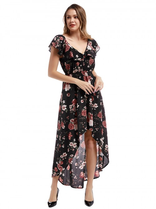 Alluring Black Ruffled Hollow Out Maxi Dress V-Neck Visual Effect