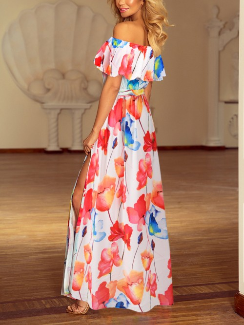 Stretchy White Off Shoulder Maxi Dress Floral Print Garment