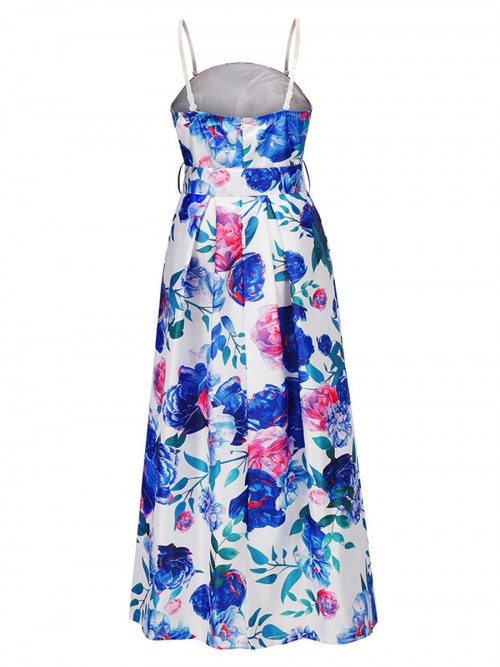 Entrancing Blue Removable Shoulder Straps Maxi Dress For Women