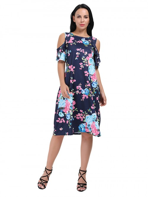 Flouncy Short Sleeves Floral Cold Shoulder Midi Dress