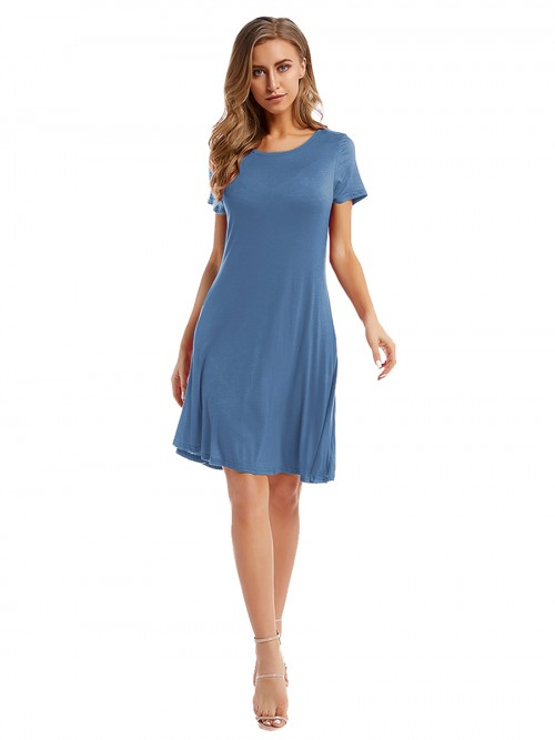 Absorbing Blue Ruched Plain Midi Dress With Pocket Elastic