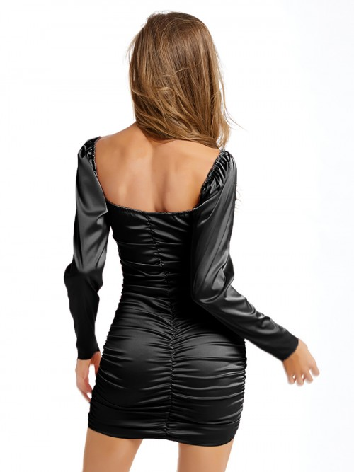 Fresh Black Off-Shoulder Bodycon Dress Ruched Quality Assured