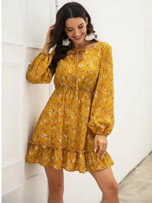 Pleasurable Yellow Long-Sleeve Mini Dress Floral Printed Dress