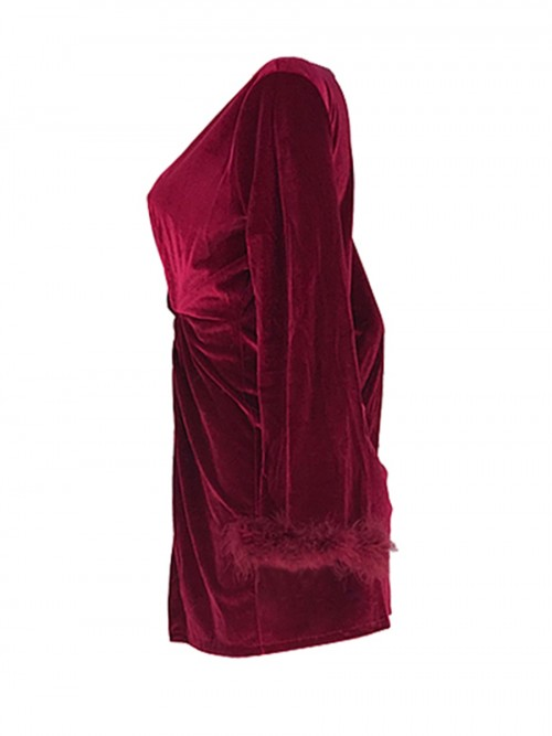Wine Red Mini Dress Velvet Deep-V Neck Slit Ultimate Comfort
