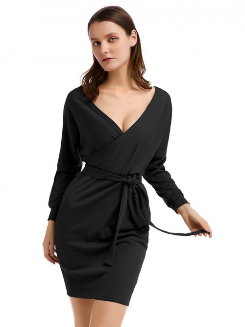Black Knit Sweater Long Sleeves Dress Plain Feminine Elegance