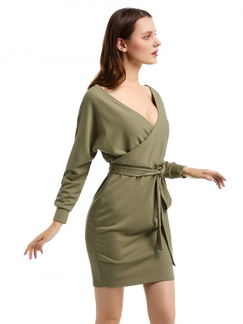 Contouring Green Knit Full Sleeve Waist Belt Hip Dress All-Match Style