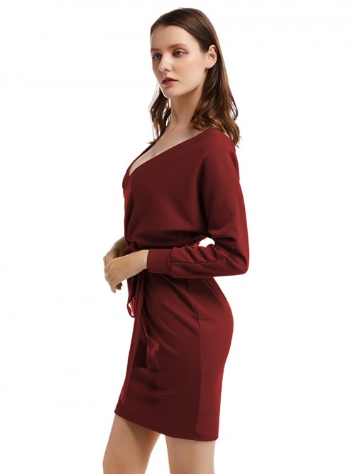 Appealing Wine Red Long Sleeve Open Back Knit Sweater Dress For Running