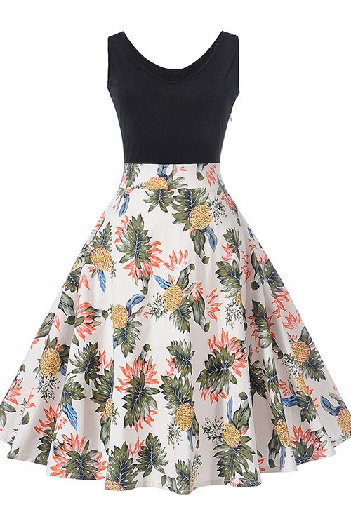 Adorable Fruits Pattern Skater Dress With Zipper Closure