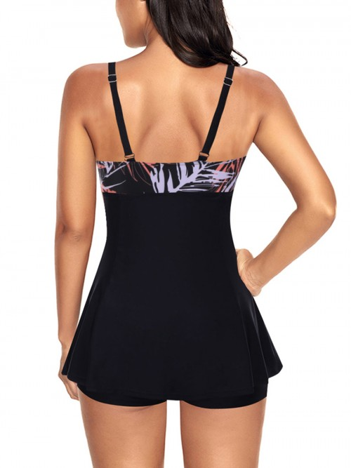 Slinky Large Size Tankini Set Contrast Color Elasticity