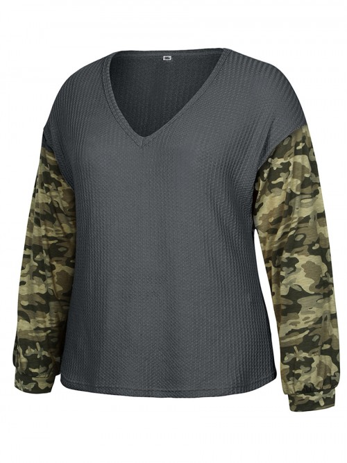 Noticeable Deep Gray Camouflage Stitching Top Plus Size