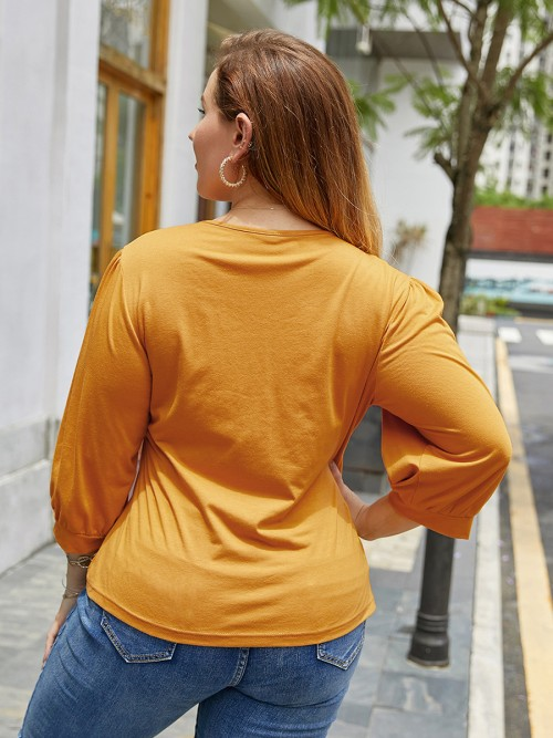 Sweetheart Yellow Big Size Shirt V Neck 3/4 Sleeve Plain