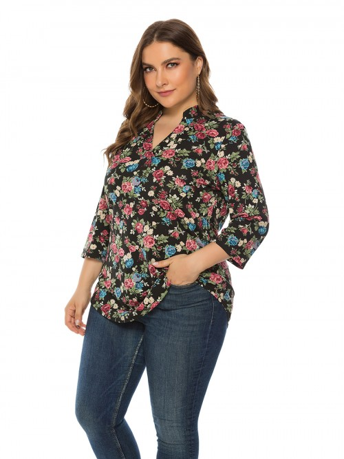 Glam Black V Neck Queen Size Shirt Floral Print Form Fitting