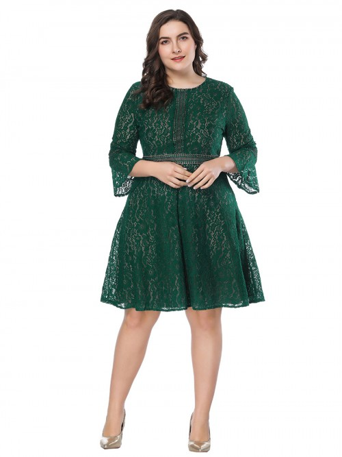 Flirting Green Lace Plus Size Dress Zip At Back High Quality