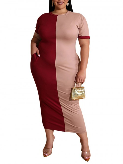Flexible Pink Colorblock Round Neck Dress Large Size Fashion