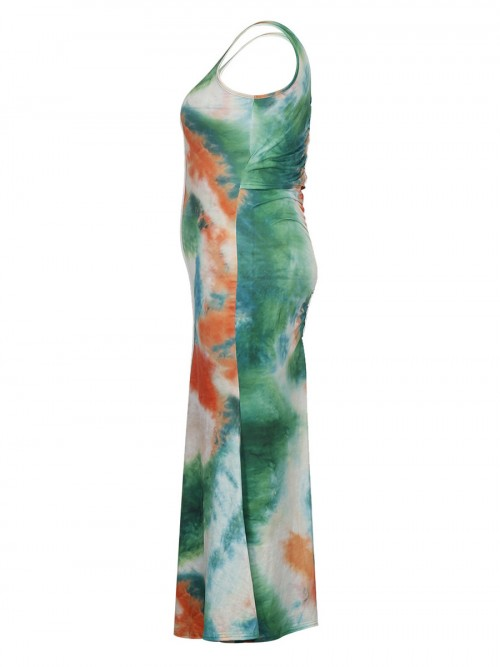 Soft-Touch Sleeveless Plus Size Dress Tie-Dyed For Sexy Women