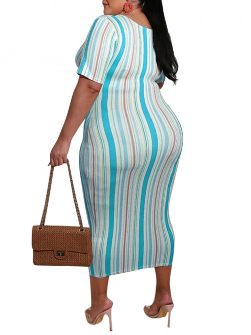Contouring Blue Striped Front Tied Large Size Dress Forward Women