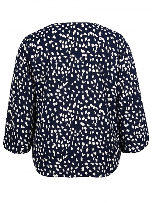 Simply Dark Blue Long Sleeve Large Size Spot Shirt For Women