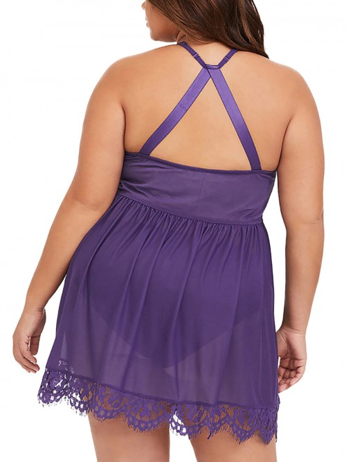 Quirky Purple Eyelash Lace Babydolls Mesh Plus Size Super Sexy