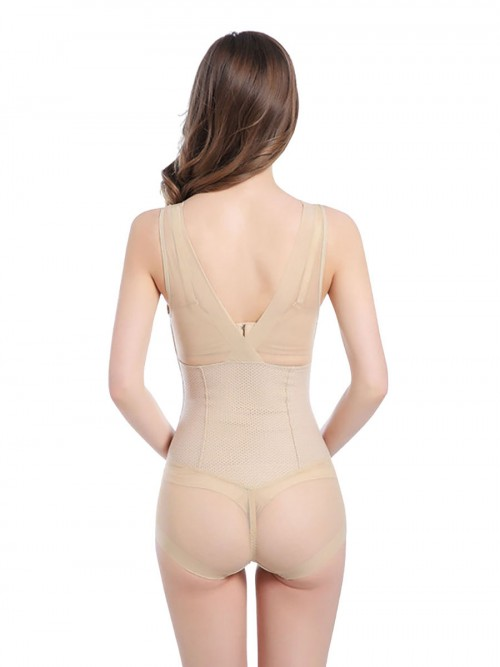 Sexy Deep V Neck Nude Slimming Bodysuit