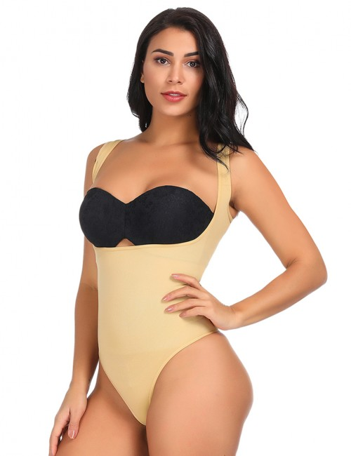 Cozy Wide Shoulder Straps Open Bust Shapewear