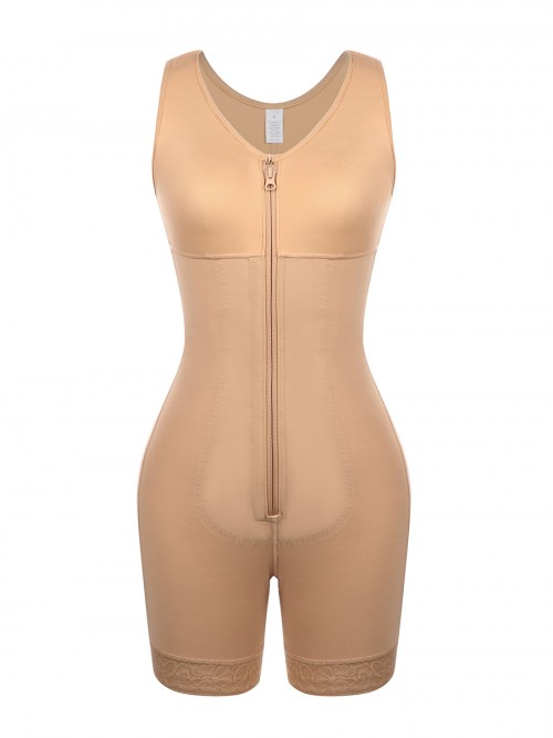 Skin Color Front Zipper Latex Bodysuit Big Size Firm Compression