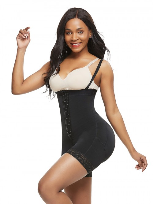 Seamless Black Full Body Shaper Big Size Lace Trim Body Sculpting