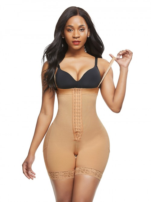 Bodysuit Plus Size Skin Color Adjustable Strap Slimming Legs