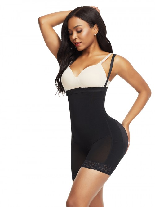 Moderate Control Black Detachable Straps Side Zip Body Shaper